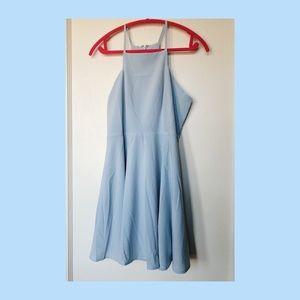 Lulu's light blue chiffon skater dress